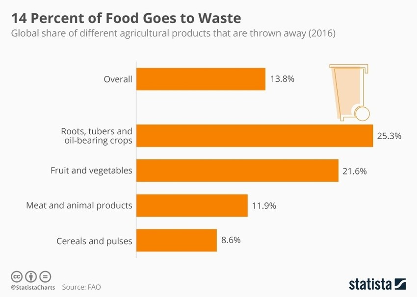 How much food end up as waste