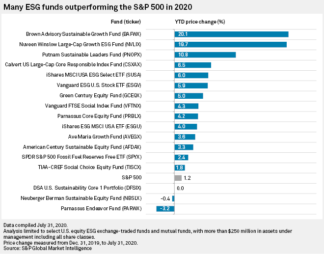 ESG funds outperforming S&P 500